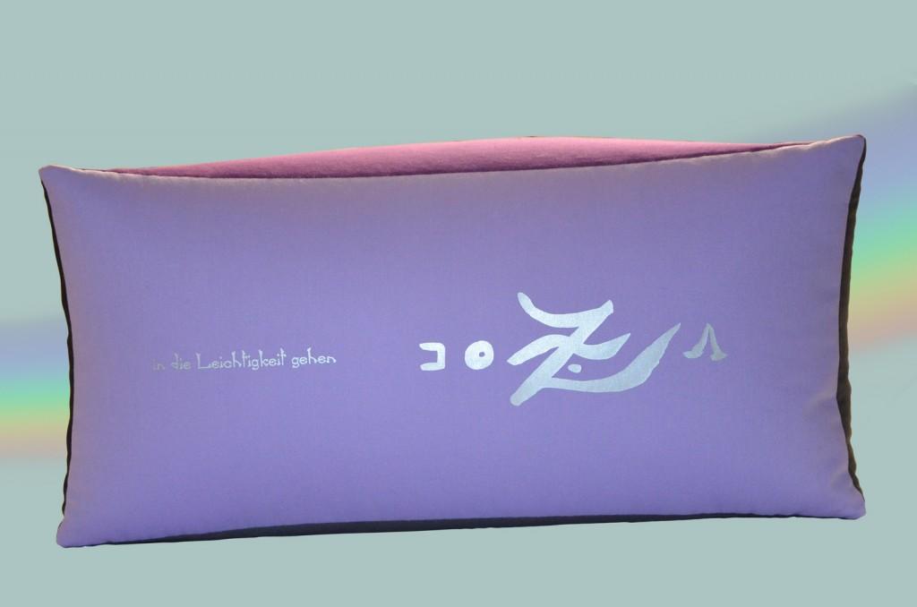Bodensitzkissen groß lila 4farbig in die Leichtigkeit gehen